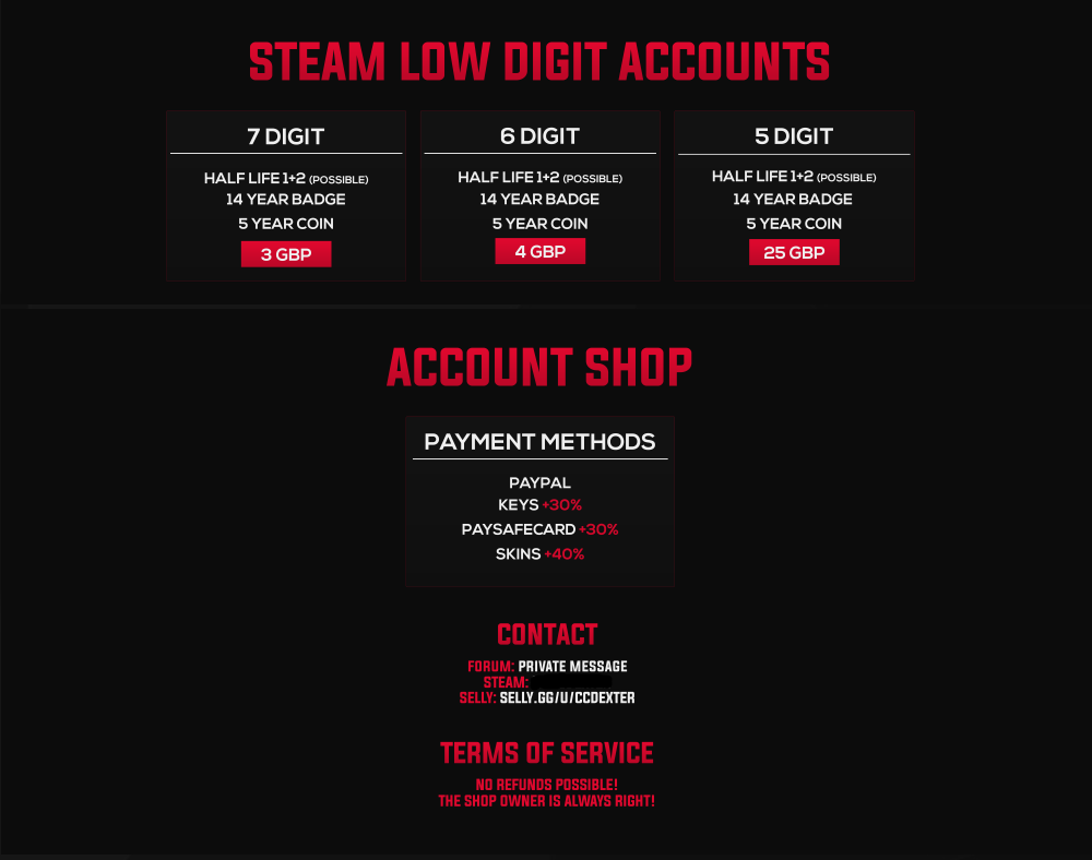 WTS] Steam Accounts with Game up to 50% off + Low Digits 5/6/7 - Buy